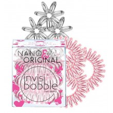 Invisibobble Bee Mine ORIGINAL (Rose Muse) + NANO (Crystal Clear) - Резинка-браслет для волос, цвет Прозрачный + Розовый 3 + 3шт