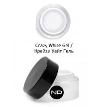 nano professional Gel - Гель цветной для прорисовки линии улыбки Crazy White Gel 15мл