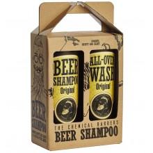 THE CHEMICAL BARBERS BEER SHAMPOO GIFT SET ORIGINAL - Подарочный Набор: Пивной шампунь против перхоти и Очищающее средство для лица, тела и волос440 + 440мл