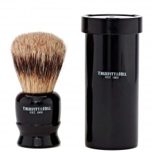 TRUEFITT & HILL SHAVING BRUSHES Tube Traveler EBONY - Кисть для бритья в футляре (Ворс серебристого барсука) ЭБОНИТ с серебром 10см