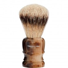 TRUEFITT & HILL SHAVING BRUSHES Welington HORN - Кисть для бритья WELINGTON (Ворс серебристого барсука) РОГ с серебром 10см