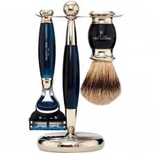 TRUEFITT & HILL SHAVING Edwardian Set BLUE OPAL Fusion - Набор для бритья: Станок с лезвием Fusion / Кисть для бритья ГОЛУБОЙ ОПАЛ с серебром 1 + 1шт