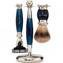 TRUEFITT & HILL SHAVING Edwardian Set BLUE OPAL Mach III - Набор для бритья: Станок с лезвием Mach III / Кисть для бритья ГОЛУБОЙ ОПАЛ с серебром 1 + 1шт