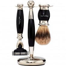 TRUEFITT & HILL SHAVING Edwardian Set EBONY Mach III - Набор для бритья: Станок с лезвием Mach III / Кисть для бритья ЭБОНИТ с серебром 1 + 1шт