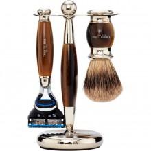 TRUEFITT & HILL SHAVING Edwardian Set HORN Fusion - Набор для бритья: Станок с лезвием Fusion / Кисть для бритья РОГ с серебром 1 + 1шт