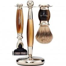 TRUEFITT & HILL SHAVING Edwardian Set HORN Mach III - Набор для бритья: Станок с лезвием Mach III / Кисть для бритья РОГ с серебром 1 + 1шт