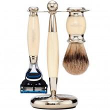 TRUEFITT & HILL SHAVING Edwardian Set IVORY Fusion - Набор для бритья: Станок с лезвием Fusion / Кисть для бритья СЛОНОВАЯ КОСТЬ с серебром 1 + 1шт